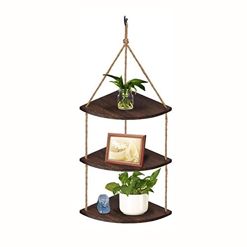 ZEH Hanging Corner Shelf, 3 Tier Rope Wood Wall Floating Shelves, Rustic Plant Displays Storage Rack Home Decor for Living Room Bedroom Bathroom Kitchen (Color : Dark Brown, Size : 11x39inch) FACAI