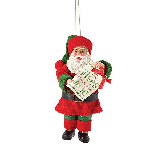 Department 56 Possible Dreams Santa The Elves Hanging Ornament, 6 Inch, Multicolor