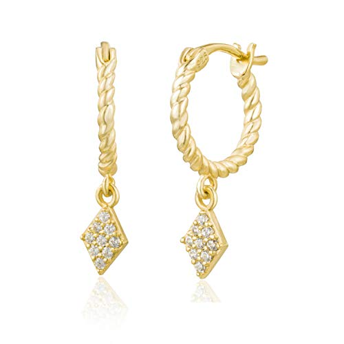 Brandlinger  Atelier Gold Hoop Earrings for Women and Girls, Twisted Earrings Made of Gold-Plated 925 Sterling Silver with Diameter 11.5 mm Gold (diamond).