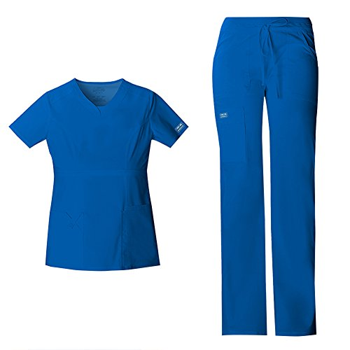 Cherokee Women's Workwear Core Stretch Junior Fit V-Neck Scrub Top 24703 & Junior Fit Low-Rise Drawstring Cargo Scrub Pants 24001 Medical Scrub Set (Royal - XX-Large/XL Tall)