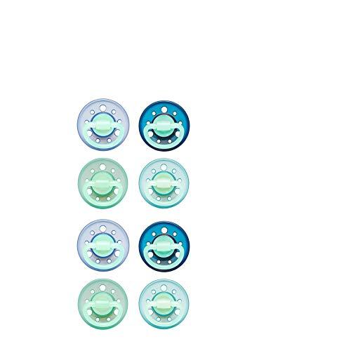 2 x 4 Schnuller Cherry® Night kirschform Größe 1, 0-6 Monate, Latex, Blau/Türkis & Blau/Grün
