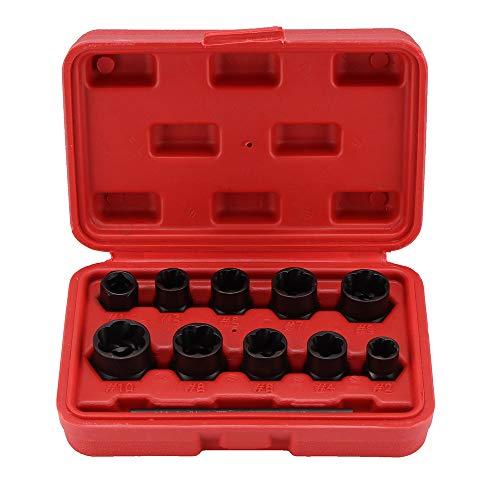 Winbang Juego de Zócalos, 11 piezas de extractor de tuercas dañados & extraer tornillos, juego de herramientas para extraer pernos dañados