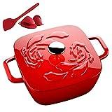 YANGYAYA Horno Holandés De Hierro Fundido De Alta Resistencia, Olla Cuadrada De Esmalte Antiadherente, para Cocinar Y Guisar Olla De Cocción Lenta, Ideal para La Familia-Rojo 3l