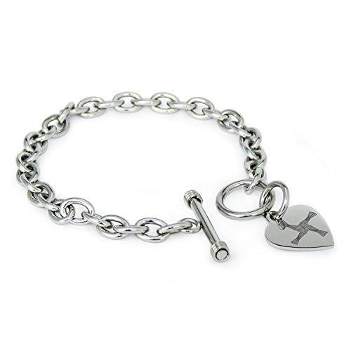 Stainless Steel Celtic Saint Brigid Cross Symbols Heart Charm, Bracelet Only