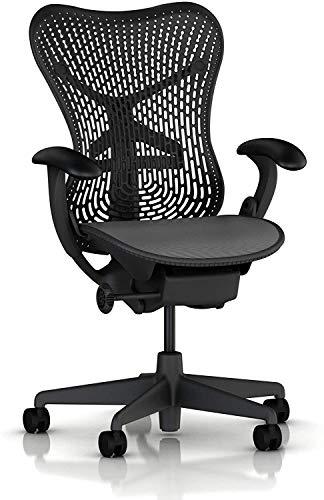 Herman Miller Basic Mirra- Pneumatic Lift - Adjustable Arms - Standard Tilt - Fixed Seat Depth - 2.5' Black Carpet Casters - Graphite Frame/Graphite Seat (Renewed)