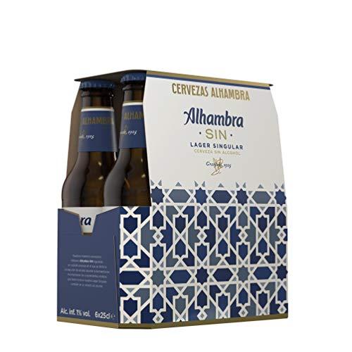 Alhambra Sin Alcohol Cerveza Lager Dorada – Pack de 6 Botellas x 25cl – 0,75% Volumen de Alcohol