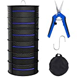 6 Layers Herb Drying Rack, Collapsible Plant Drying Netting, Durable Hanging Drying Mesh with Zippers, Complimentary Hook and Pruning Shear, Ideal for Drying Plants and Flowers