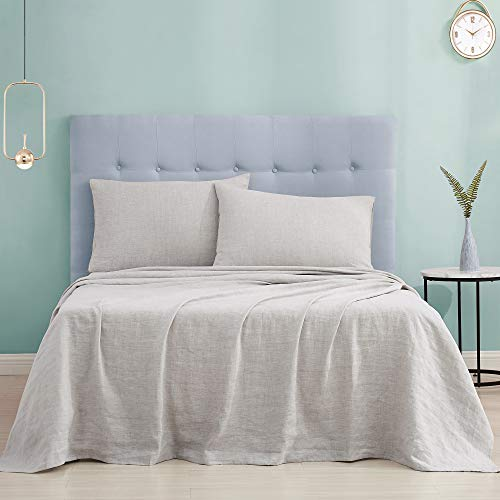 DAPU Pure Stone Washed Hemp Sheets Set Super Linen Natural Breathable Cozy Warm (Queen, Greige, Flat, Fitted and 2 Pillowcases)
