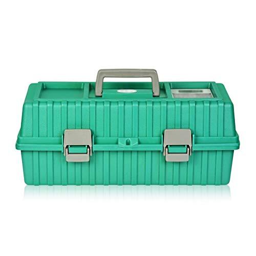 Caja de herramientas Caja de herramientas multiusos de 17 pulgadas y 3 capas con bandeja y divisores, caja de almacenamiento plegable for herramientas de plástico for el hogar (verde) Maletín de Herra