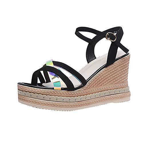 Zapatos Mujer Verano Casuales cuñas Esparto Sandalias Mujer Plataforma de Playa tacónes...