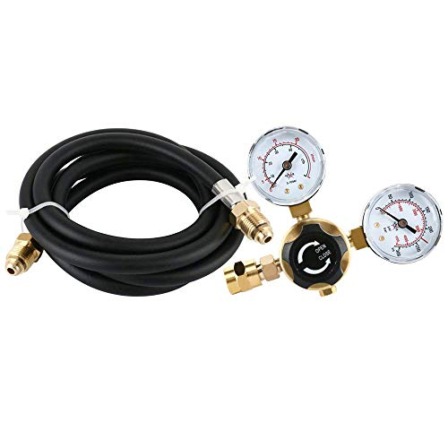4YANG Argon CO2 Regulators Gauges Gas Welding Regulator CGA580 compatible with Miller Lincoln Mig Tig Weld (With Hose)