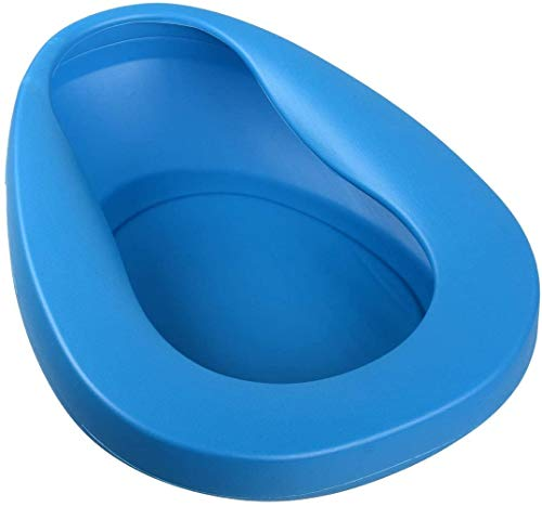 Ilyever Bed Pan with Thick PP,Easy to Use, Simple to Clean, Smooth Countoured for Bedbound, Elderly, Disabled, Handicapped, Invalid, Injury, Illness, Toilet,Blue