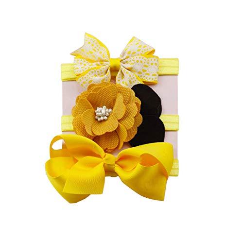 K-youth® 3pcs Niños Elásticos Diadema Floral Pelo Niñas Bebé Bowknot Hairband Conjunto Mariposa Niñas Banda Para La Cabeza Diadema Bebé (Amarillo)