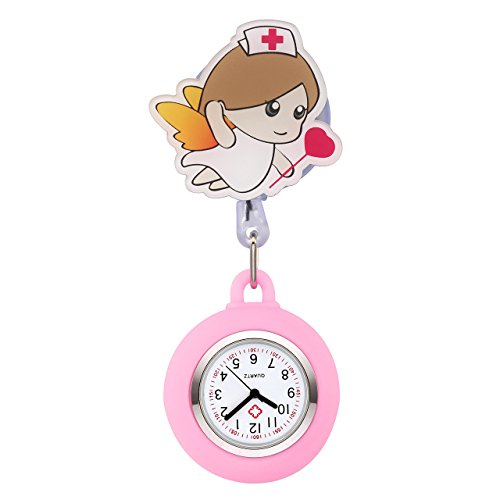 JSDDE Uhren Cartoon Engel Krankenschwester Uhr Pulsuhr Nurse Watch Kitteluhr Silikon Hülle Taschenuhr Schwesternuhr mit Clip (Rosa/Pink)