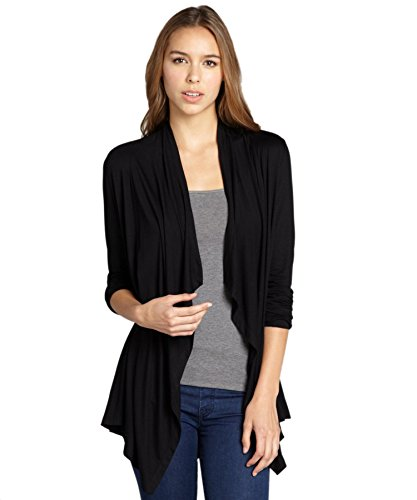 Hybrid & Company - Super Comfy Women's Open Front Drape Cardigan - Made in USA ,Black ,2X