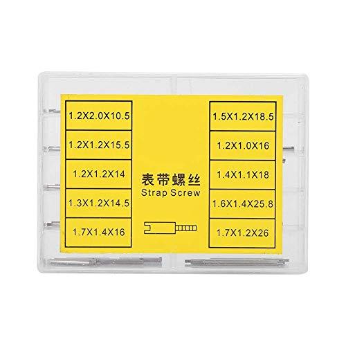 GAESHOW 2Boxes Watch Band Link Pins Correa Tornillo Set Herramienta de reparación de relojero Accesorios con Caja de Almacenamiento Correa de Varios tamaños Reloj de Tornillo