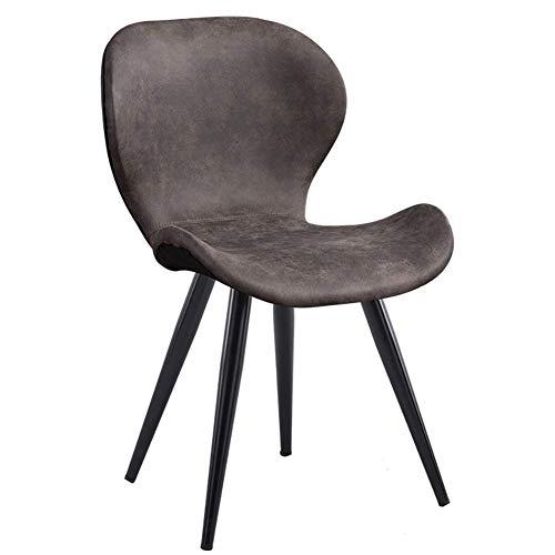 LLYU Chaise de Bureau postmoderne Minimaliste en Fer forgé, Coussin en Tissu, Design Ergonomique, idéale for Restaurant/Bureau/comptoir/Famille (Color : Gray)