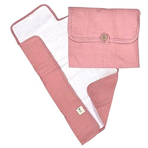 Leobulle – Cambiador portátil con rosa de viaje – Todo suave de gasa de algodón – Plegable y ligera (rosa)