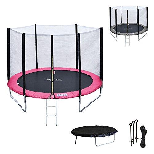Happy Garden Pack Premium Cama elástica 180cm Reversible Rosa Color Gris Cairns + Red de Seguridad, Escalera, Lona y Kit de Anclaje