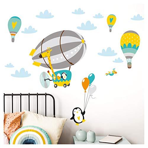 Little Deco DL370 - Adhesivo decorativo para habitación infantil, diseño de jirafa en el zeppelin, color menta, gris, azul y amarillo (151 x 79 cm)
