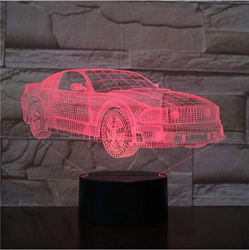 Motor Cars Bus Van Design 3D LED Night Light 7 colores Lámpara cambiante Lámpara de escritorio de ilusión acrílica para regalo de niños