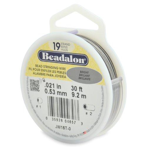 Beadalon 19-Strand Bead Stringing Wire, 0.021-Inch, Bright, 30-Feet