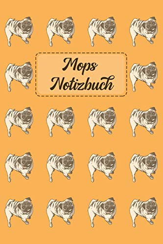 Mops Notizbuch: Journal für Notizen in hellorange mit Mops-Muster - 6 x 9 (ca. A5)