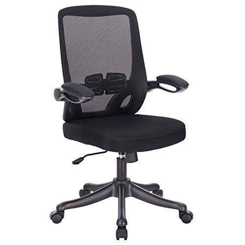 PROMECITY Bürostuhl, Ergonomischer Netz-Tischstuhl Armlehnen und Lendenwirbelstütze, Schwarzer Computerstuhl