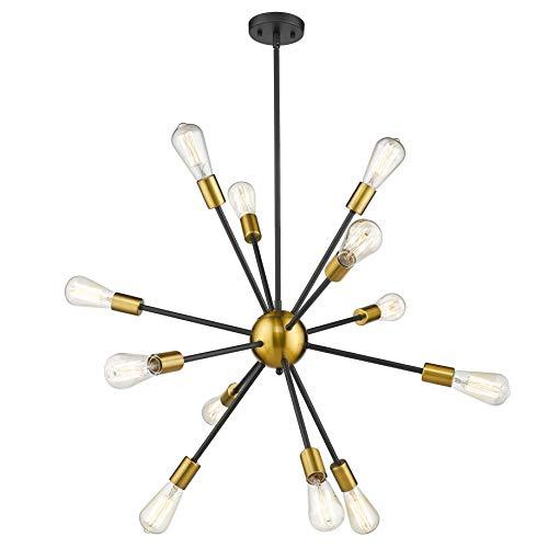 JAZAVA Modern Sputnik Chandelier Light Fixture, 12 Light Starburst Chandelier Pendant Lighting, Ceiling Lights for Kitchen Bedroom, Black & Brass Brushed