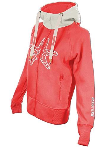 SEESTERN Damen Kapuzen Sweat Shirt Jacke Pullover Zip Hoody Sweater Gr.XS-3XL /1622 Sorbet S