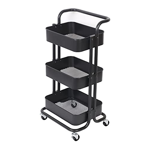 ProTech Storage Trolley 3-Tier Slim Storage Cart Slide Out Rolling Utility...