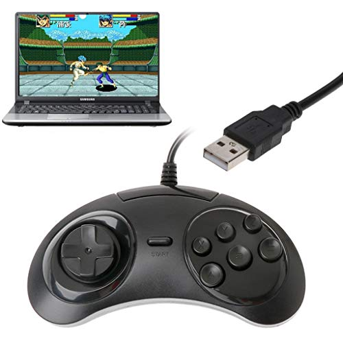 Happy Childhood 6 toetsen gamepad controller joypad handvat kabelgebonden klassieke USB-gamepad voor SEGA MD2 Speel op elke PC Gold Mac van William-Lee