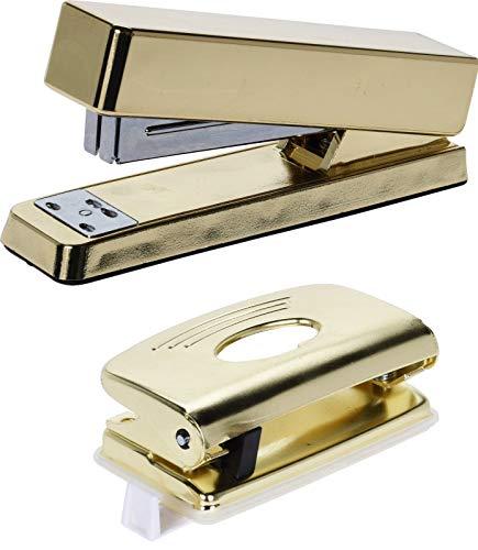 Cucitrice oro in metallo da scrivania + perforatore carta 2 fori oro