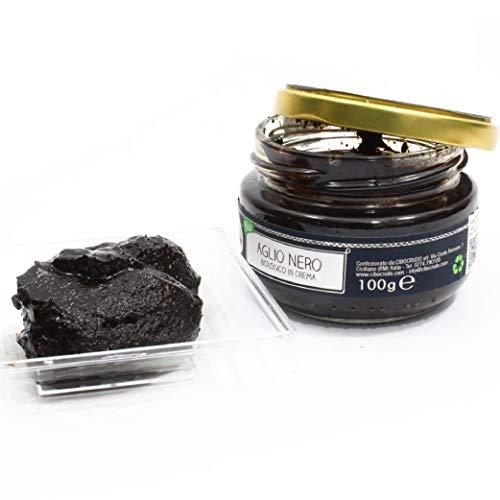 Cibocrudo Crema di Aglio Nero Cruda Biologica - 100g - qualità premium, ricca di sali minerali, energizzante ed antiossidante, confezione in vetro ed etichetta in italiano