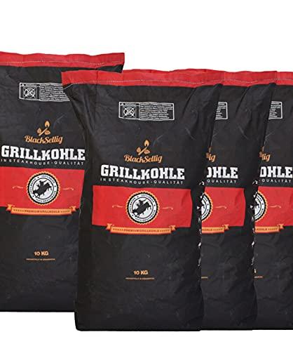 BlackSellig 40 Kg Steakhousekohle reines Quebracho Holz Grillkohle - perfekte Restaurantqualität