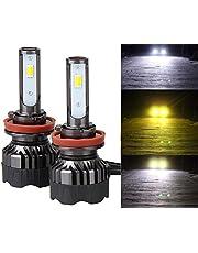 3色5モード切替LEDヘッドライト フォグランプ 一体式 DC12V車用-ポーペ(POOPEE) 28W 両面発光 6000K 3000k 4300k 黄色/白 イエロー・ホワイト切替え 1年保証