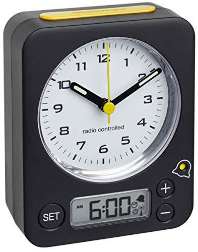 TFA Dostmann  Combo Analog Wecker, 60.1511.01.07, mit Funkuhr, mit digitaler Alarmeinstellung, geräuschlose Tasten, schwarz-gelb