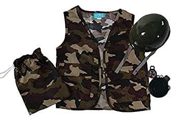 Boys Camo Army Soldier Vest Helmet and Toy Accessory Gift Set 5-8 Years