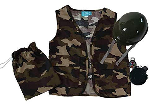 Boys Camo Army Soldier Vest, Helmet and Toy Accessory Gift Set 5-8 Years