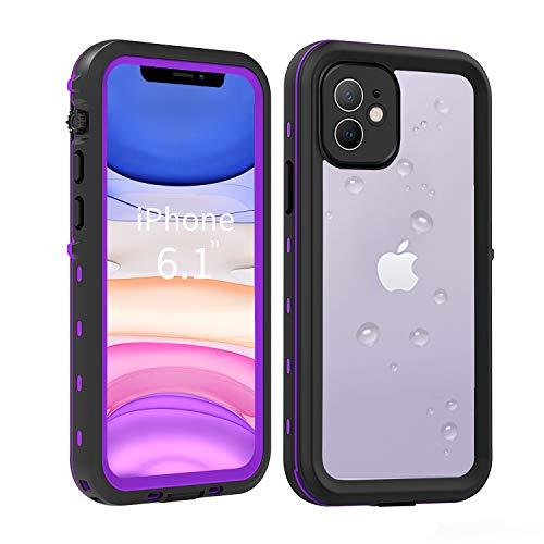"""SenMore Funda Impermeable iPhone 11,Transparente 360 Grados Case Antigolpes Carcasa con Protector de Pantalla Integrado para iPhone 11 6.1 2019 (iPhone 11 6.1"""", Púrpura)"""