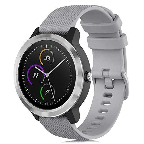 Onedream Correas Compatible para Garmin Vivoactive 3 Vivomove, Pulsera de Repuesto Band Deportivo Correa del Reloj Silicona Accesorios 20mm para Hombre y Mujer, Gris (Sin Reloj) ⭐