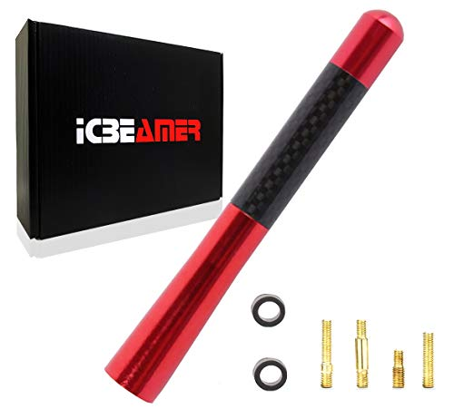 ICBEAMER 5' 127 mm Carbon Fiber Polished Finish & Red Aluminum Short Automotive...