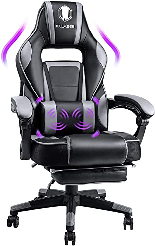 KILLABEE Gaming Chair with Footrest and Massage, Racing Computer Desk Office Chair High-Back Swivel Recliner Chair with Retractable Footrest and Adjustable Lumbar Support, Video Game Chairs (Grey)