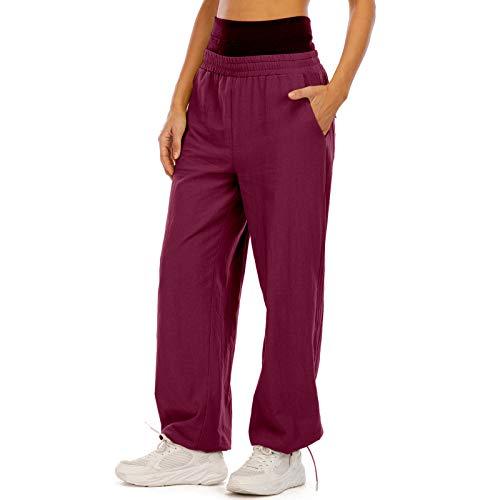 MUYOGRT Pantalones de deporte para mujer, pantalones de entrenamiento, pantalones de fitness, pantalones de chándal, cintura alta para correr, fitness, con pantalón de rayas Borgoña 1. XXL