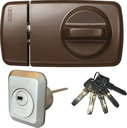 ABUS Tür-Zusatzschloss 7010 B braun, EC550, Kastenschloss mit Drehknauf, mit 5 Schlüssel, Ausführung EK (Metallausführung)