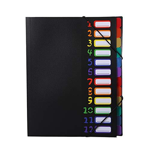 N / C 12 Bolsillos Coloridos para el Administrador de Archivos extendido, la Carpeta de acordeón tamaño Carta A4 Puede Contener 120 Bolsas de Archivos portátiles