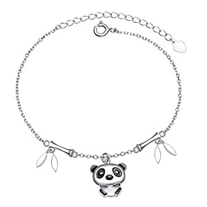 S925 Sterling Silver Lovely Panda with Bamboo In Moon Pendant Necklace Ring Bracelet