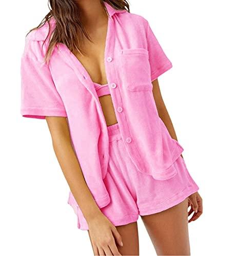 Conjunto de 2 piezas para mujer de verano con camiseta suelta, mini pantalones cortos de manga corta, casual, chándal activo Y2K E-Girl Streetwear, rosa, L