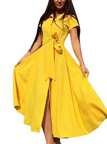 Vestido Camisero Mujer Elegantes Manga Corta De Solapa Un Solo Niñas Ropa Pecho Color Sólido Casual Suelta Una Línea Swing Vestidos Largos Vestido Verano