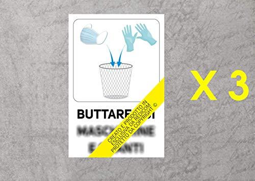 Generico Cartello Covid 19'Buttare Qui mascherine e Guanti - 20x30 cm - 3 Pezzi - Adesivo per Interni - ETCOV52